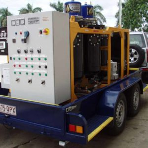 Powermaster 1200 Transformer Oil Filtration Unit in tow